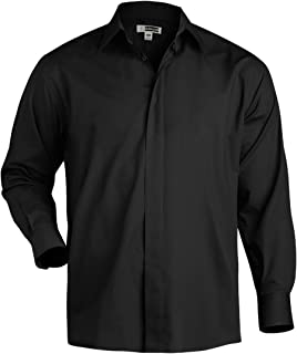 Edwards Garment Men's Big And Tall Covered Placket Cafe Shirt_BLACK_XXXX-Large Tall