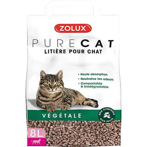 Litière pour chat PURE CAT végétale bois compressé non traité 8 L haute absorption, neutralise...