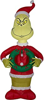 Gemmy Inflatable Grinch with Wreath in Santa Suit and Hat Indoor/Outdoor Holiday Decoration