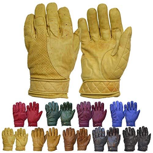 Goldtop Kurz Bobber Leder Motorrad Handschuhe - Gewachste Tan (XXL - 9,25')