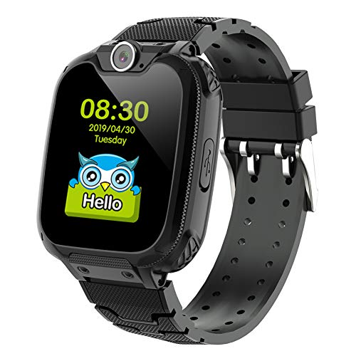 Deyawe Kids Smartwatch Phone,Colorful Touch Screen Smartwatch with Camera Games Touch Screen SOS Call Voice Chatting Christmas Birthday Gift (Balck)
