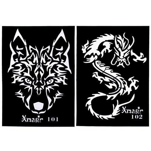Minkissy - Juego de 4 plantillas para tatuar, diseño de lobo con forma de tigre
