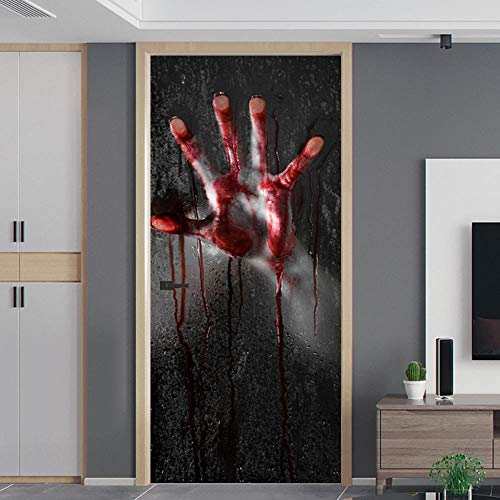 ZOOINB Murales para Puertas 3D para Puertas Papel Pintado Puertas Autoadhesivo,95X215Cm Mano De Zombie Manchada De Sangre Roja Impermeable Mural Puertas Pegatinas 3D para Puertas PVC Decorativos para