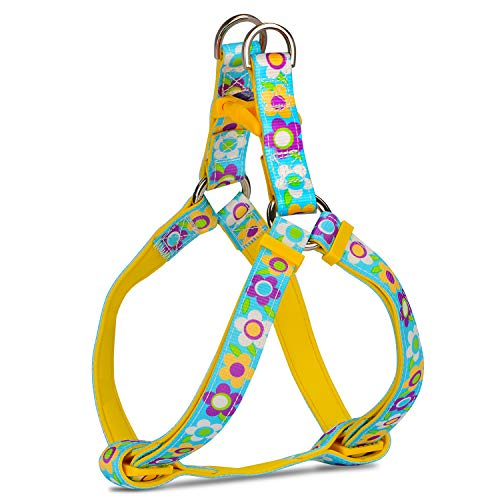 PETLOFT Dog Harness, Soft Texture Adjustable Dog Harness in Floral Print with Dual Stainless Steel Rings for Easy Leash Clip (M, Floral Blue)