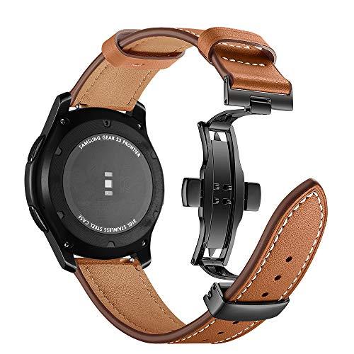 Myada Kompatibel mit Armband für Gear S3 Frontier Leder,Armband Samsung Galaxy Watch 46mm Echtes Leder Ersatzarmband, Armband Uhr 22mm Leder Herren Armbänder Samsung Gear S3 Classic Band Sportarmband
