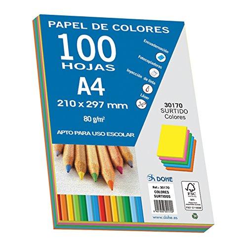 Dohe 30170 - Pack de 100 papeles A4, 80 g., multicolor intenso