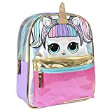 Cerdá - Mochila Infantil Metalizada Brillante de LoL Surprise con Rayas de Colores - Licencia Oficial LOL Surprise