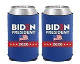 Biden 2020 Can Koozies – Neoprene Beer Can Cooler, American Flag Biden Koozies – Set of 2 (BPflag-BLUE)
