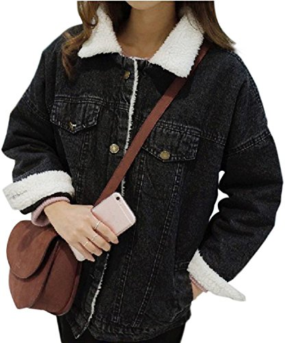 Minetom Damen Winter Plus Samt Jeansjacke Langarm Schlank Warm Wintermantel Winterjacke Plüsch Gefüttert Denim Jacke Mantel Outwear Schwarz DE 36