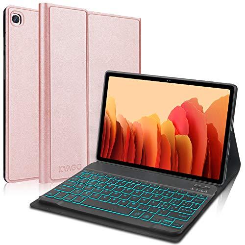 """KVAGO Funda con Teclado Español para Tablet 10.4"""" Samsung Galaxy Tab A7 2020 SM-T505/T500/T507, Bluetooth Retroiluminación Teclado,Inteligente Carcasa con Auto-Sueño/Estela,Oro Rosa"""