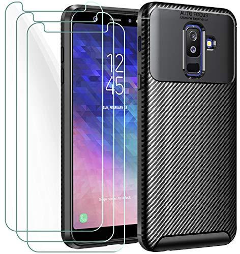iVoler Cover per Samsung Galaxy A6+ 2018 / A6 Plus 2018, con 3 Pezzi Pellicola Vetro Temperato, Fibra di Carbonio Custodia in Morbida Silicone TPU Anti-Graffio Antiurto Protettiva Case - Nero