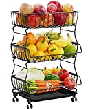 Rolling Stackable Basket, iSPECLE 3 Tier Fruit Basket Stand with Lockable Wheels Extra Large Metal Wire Storage Basket Fruit Organizer with Drainboard for Kitchen Counter, Black