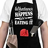 Aprons For Men, Women With Pockets - Fathers Day Giftss - Dad Gifts, Birthday Gifts For Dad, Boyfriend, Husband, Brother, Uncle, Grandpa, Her, Him - Chef Kitchen Cooking Grill Bbq Baking Aprons