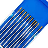 TEN-HIGH tig Electrodos de tungsteno Electrodos de soldadura, Lanthanum 1.5% Oro, Para soldadura DC y AC, 1.6 mm x 175 mm