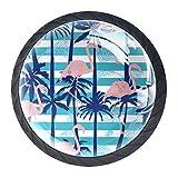 Juego de 4 perillas para gabinetes de cocina - Tiradores para cajón y tocador - Ilustración de vector de patrón de flamenco transparente