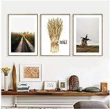 Wallpaper M Cartel nórdico Arte de Pared Vintage Carteles e Impresiones Cartel de Molino de Viento holandés Cuadros de Pared de Trigo para Sala de Estar- 40x60cmx3 Sin Marco
