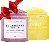 Brooklyn Botany Blueberry Body Scrub and Sweet Orange Body Scrub - Natural Exfoliating Scrub - Moisturizing and Great for Acne, Stretch Marks and Spider Veins - Anti Aging - Gifts for Women - 10 oz