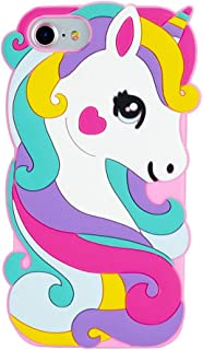 Cute Colorful Pegasus Case for iPhone SE 5 5S 5C,3D Cartoon Animal Cute Silicone Rubber Protective Kawaii Funny Character Cover,Animated Fun Cool Skin Cases for Kids Teens Girls(iPhone SE)