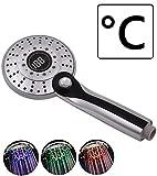 LED Duschkopf mit Temperaturanzeige, 3 Farben LED...