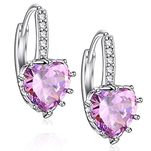 Orecchini a bottone eleganti a forma di cuore con pietre zircone AAA Orecchini a forma di cuore per donna (rosa)