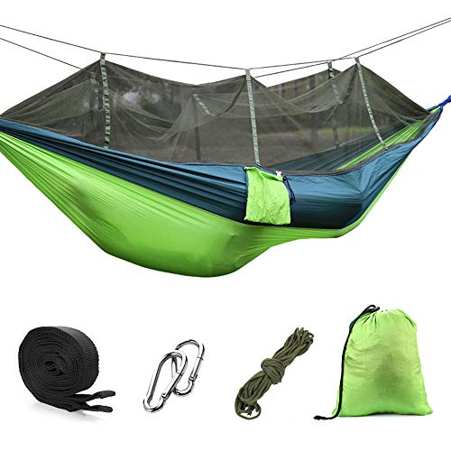 DricRoda Lightweight Camping Hammock with Mosquito Net,Fast Easy Assembly Portable Hammock with Tree Straps for Outdoor Backpacking Camping Travel Hiking,Backyard and Indoor, Green,1 to 2 Person
