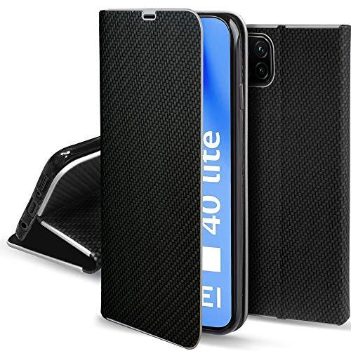 Moozy Funda con Tapa para Huawei P40 Lite, Carbono Negro – Flip Cover con Bordes Metalizados de Protección Elegante, Soporte y Tarjetero