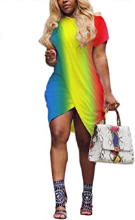 Women's Summer Crew Neck Short Sleeve Bodycon Irregular Hem T Shirt Dress