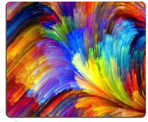 Cojín de ratón del océano del arco iris del fractal.cojín de ratón fresco colorido-10x12inch