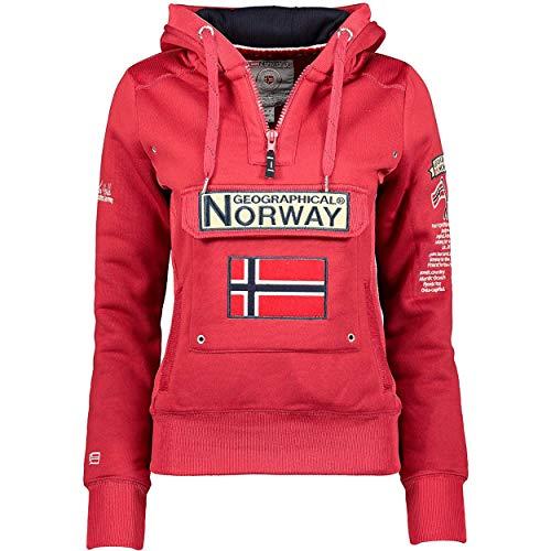 Geographical Norway GYMCLASS Lady - Sudadera Mujer Bolsillos Kangaroo - Sudadera Caliente Mujer - Suéter Abrigos Manga Larga - Hoodie Tops Casual Abrigo Estilo Granat L - Talla 3