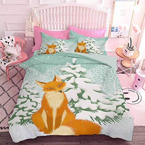 Hiiiman Bedding Cover Set 3pcs Red Fox Sitting in Winter Forest Snow Covered Pine Trees Xmas Cartoon (3pcs, Twin Size) Ultra Soft Microfiber Bedroom Duvet Cover