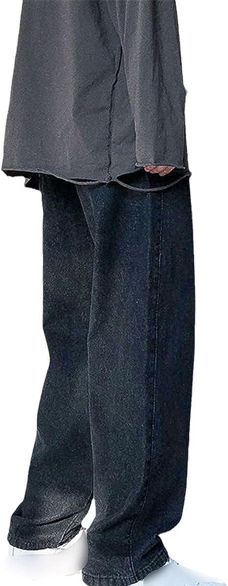 Men's Loose Black Blue Straight Leg Pants Solid Color Casual Pants Loose Pocket Pants Motorcycle Denim Pants