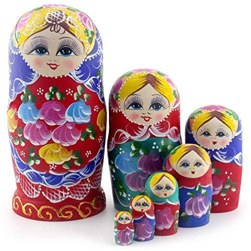 Starxing Russian Nesting Dolls Matryoshka Wood Stacking Nested Set 7 Pieces Handmade Toys for...