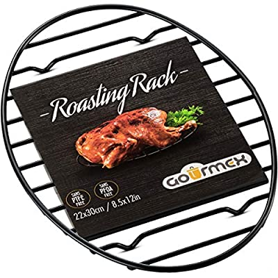 GOURMEX Black Oval Roasting Rack with Integrated Feet   Stainless Steel Kitchen Rack with Non-Stick Coating, PTFE Free   Oven and Dishwasher Safe   Ideal for Cooking, Roasting, Drying, Grilling