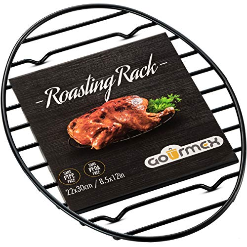 GOURMEX Black Oval Roasting Rack with Integrated Feet | Stainless Steel Kitchen Rack with Non-Stick Coating, PTFE Free | Oven and Dishwasher Safe | Ideal for Cooking, Roasting, Drying, Grilling