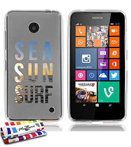 weiche Schutzhülle schmal Nokia Lumia 635dünn, Motiv Exklusives [Sea Sun and Surf] [transparent] von MUZZANO + Eingabestift und Reinigungstuch Muzzano® angeboten–Der Schutz kratzfest ultimative, elegante und nachhaltige für Ihre Nokia Lumia 635