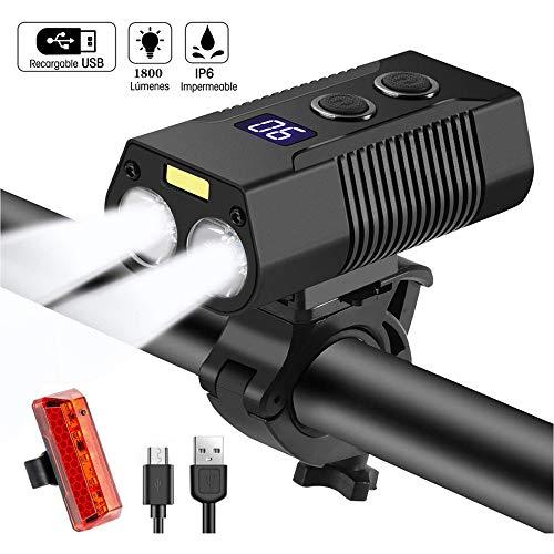 CPDZ Fahrrad-Licht-USB-Gebühr 1800 Lumen 3 Modi Fahrrad Lampe Sicherheit beim Reiten wasserdichte intelligenten Geräte LED Fahrrad Scheinwerfer mit Rücklicht