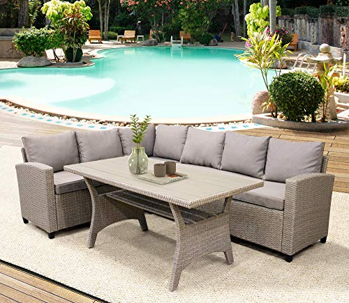 LZ LEISURE ZONE Patio Dining Table Set Outdoor Furniture PE Rattan Wicker Conversation Set All-Weather Sectional Sofa Set with Table & Soft Cushions (Light Brown)