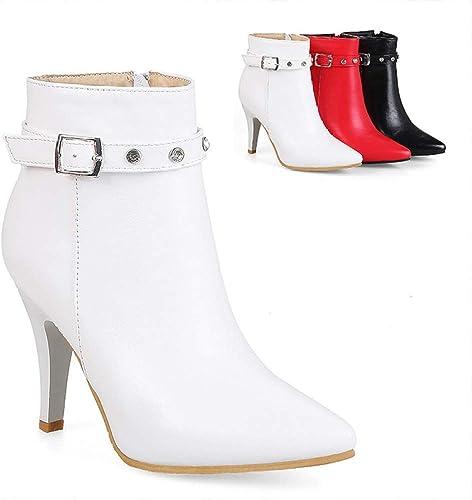 Fuxitoggo Bottes pour Les Les dames - Stiletto Fashion Bottes Romaines américaines et européennes Bottes Chaudes à Fermeture à glissière latérale   33-43 (Couleuré   Blanc, Taille   33)