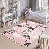 TAPISO Jolly Tappeto Bambini Cameretta Bimbi Gioco Colorato Animali Orsetti Multicolore Rosa A Pelo Corto 120 x 170 cm