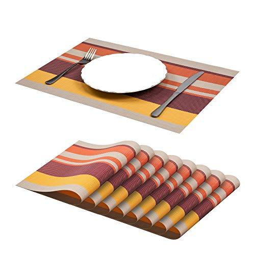 Jujin Set di 8 tovagliette in PVC Antiscivolo, Lavabili, Resistenti al Calore, per Tavolo da Pranzo Rosso