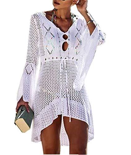 Cyiozlir Strandkleid Damen Elegant Gestrickte Bikini Cover Up Strandponcho Boho Häkelkleid Sommer Strand Pareo (#Weiß)