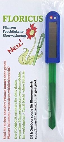Floricus Blau (lang) - in peppiger Hülle - div. Farben - keiner reagiert schneller - Perfekter Solar-Feuchtigkeitsmesser/Gießanzeiger für Ihre Pflanzen - IN- und Outdoor geeignet