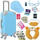 ZITA ELEMENT 20 Pcs American Doll Suitcase Luggage Travel Play Set for Boy 18 Inch Doll Travel Carrier Storage, Including Luggage Pillow Blindfold Sunglasses Camera Computer Cell Phone Ipad,ect