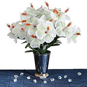 DN_HOM Beautiful 60 pcs Silk Hibiscus Tropical Flowers Wedding Bouquets Centerpieces Arrangements (White)