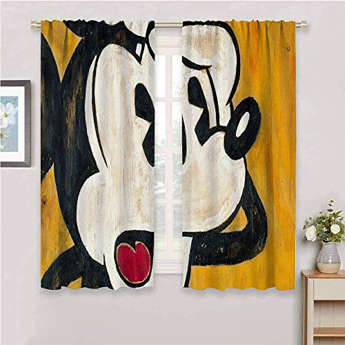 Zmcongz Cortinas opacas de primera calidad Mickey Minnie Mouse W108 x L84 pulgadas de impresión para decoración del hogar, cortinas correderas de la puerta de la barra de bolsillo curtian