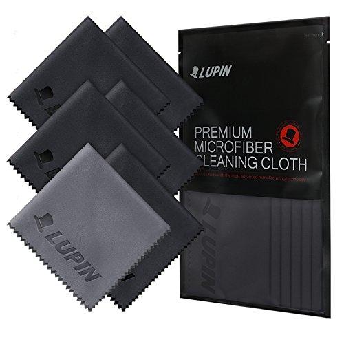 Lupin Microfiber Schermreinigingsdoek Beeldschermreiniger Doek [6 Pack] Premium Ultra Lint-Doek voor Smartphone, Mobiele Telefoon, Tablets, Laptops, iPad, TV-Schermen en Andere Oppervlakken - Zwart