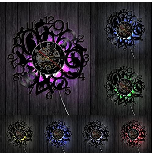 7 Colores con luz Reloj de Pared de Gatito Divertido Reloj de Gatos Gatito Negro Decoración de Animales Disco de Vinilo Arte Mujeres Amantes de los Animales Ideas de Regalos 30 cm