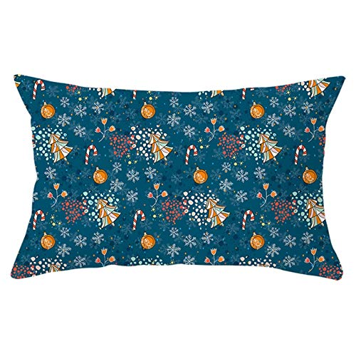 Aartoil Throw Pillow Covers Christmas Snowflake Christmas Balls Trees Candy Cane 12''x20'' Rectangle Cushion Case for Sofa Couch, Dark Blue Style 10