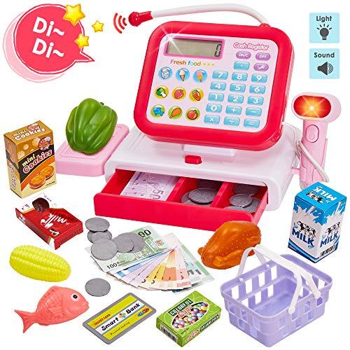 HERSITY Kasse Kinder Spielkasse mit Scanner Elektronische Registrierkasse Spielzeug Supermarktladen Rollenspiel Geschenk Mädchen Jungen 3 4 5 Jahren (33 Stück, Rot)