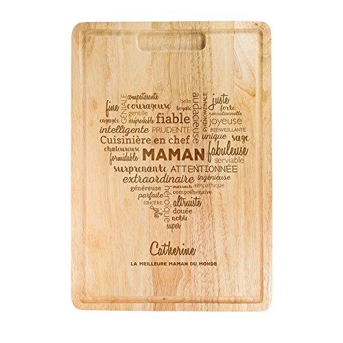 Crazy Kitchen Planche à découper en Bois avec Gravure - Cœur de Mots pour Maman - Personnalisée avec [NOM] - Planche à découper, Planche à Pain - Idée Cadeau pour Mamans - Cadeau de fête des mères